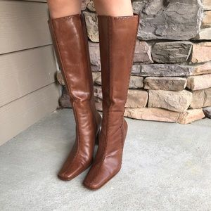Diba tall brown leather boots high heal 6